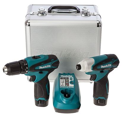 Слика на Сет 2 акумулаторски алати, полнач и батерии во алу миниумски куфер